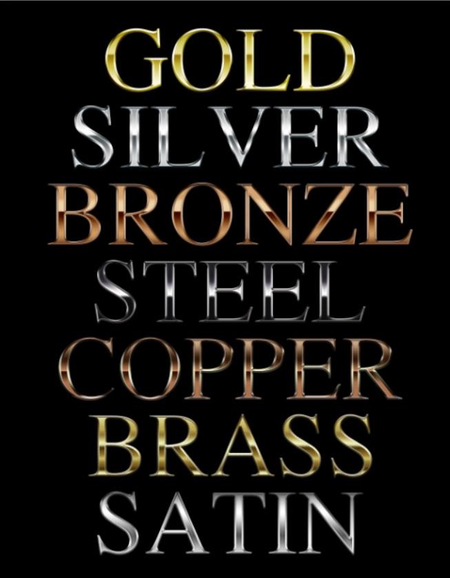 استایل طلا و نقره و برنز برای فتوشاپ